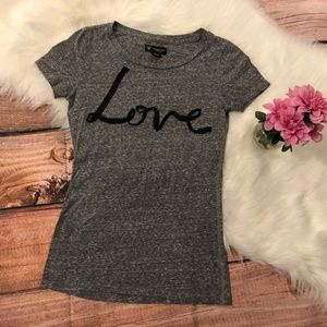 American Eagle Outfitters Gray Love Graphic Tee